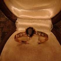 Золотое кольцо с сапфиром и бриллиантами 585 пробы размер 17, в Москве