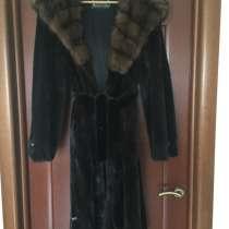 Шуба норка соболь 46 44 Luini Греция капюшон блек лама миди, в Москве