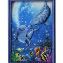 Картина бисером «Дельфины» 29х40, в Москве
