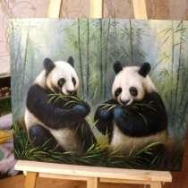 Панды, холст, 60х50см, картина маслом, Смирнов, в Москве