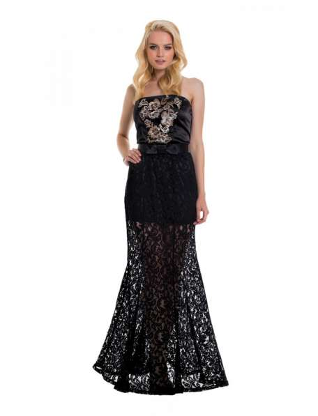Длинное черное вечернее платье