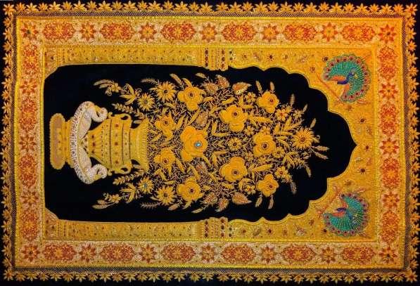 Ковер индийский настенный 190x120 с полудраг камнями