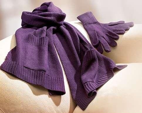 Шарф + перчатки с карманами