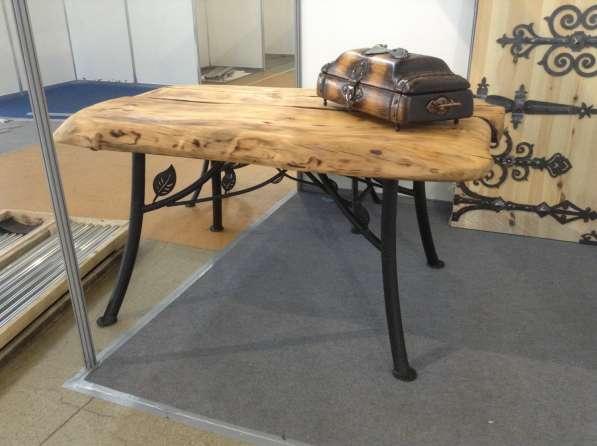 Стол для дачи бани летней кухни, деревянная столешница,ковка