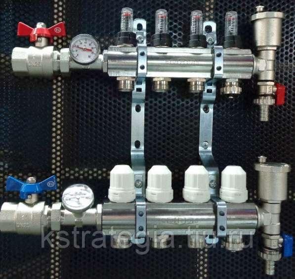 Коллекторная группа 1*3/4*6 выходов с расходомерами, воздхоотводчиками и дренажом