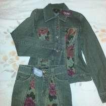 Костюм джинсовый размер 140-146, с юбочкой, новый, в Екатеринбурге