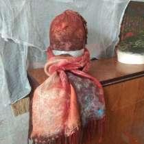 Терракотовый шерстяной валяный шарф, в г.Минск