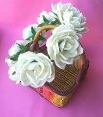 Венок на голову для фотосессий с белыми розами из фоамирана, в Лыткарино