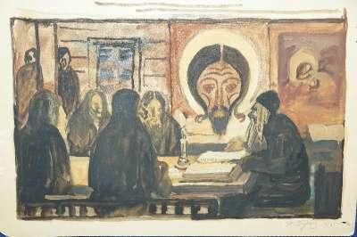Бучкин П.Д., акварель «В монастыре».1916