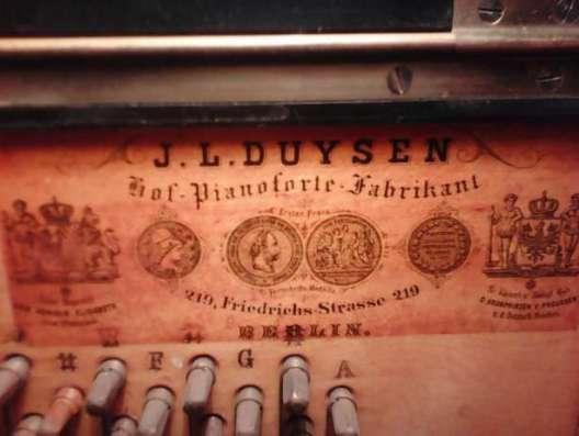 Пианино J. L. Duysen. Hof-Piano-Forte Fabrikant
