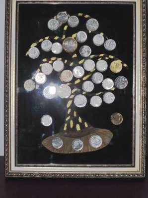 "Картина панно из монет ""Денежное дерево"" размер 24х32"