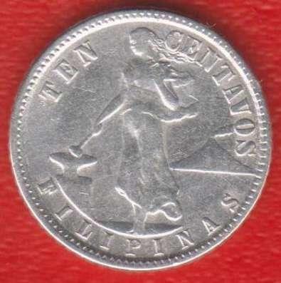 Филиппины адм. США 10 сентаво 1945 г. серебро