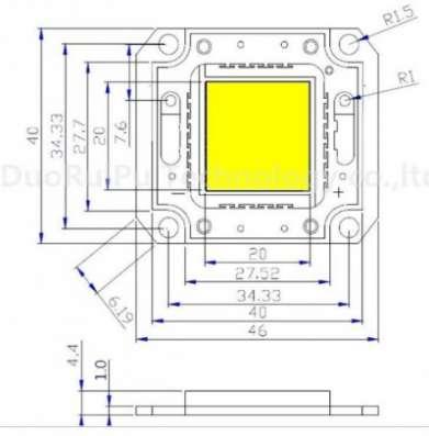 Светодиодные матрицы для прожекторов Walsin, Huga Taiwan 10-100Вт. 35mil