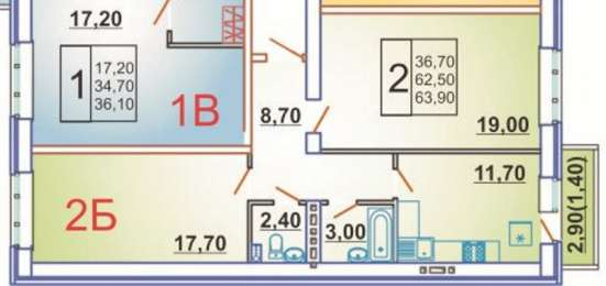 2-комнатная квартира 63,9 кв. м. дом сдан