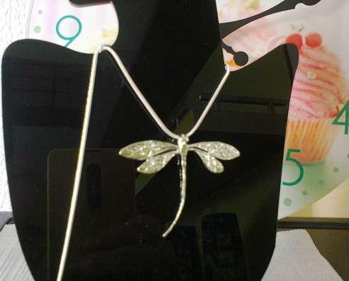 Кулон Стрекоза серебро