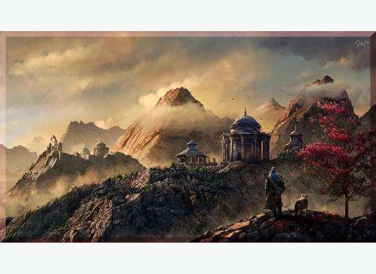 Картина на холсте: Лучник и сакура